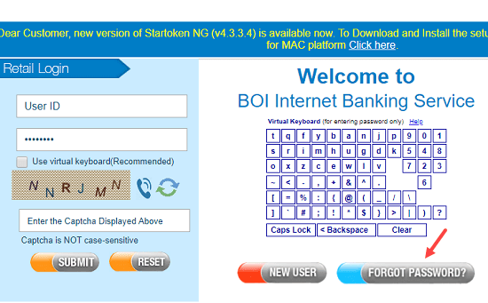 Bank of India (BOi) net banking reset login password
