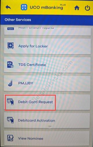 UCO bank New Debit card Apply online
