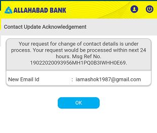 Allahabad Bank Email register change Online