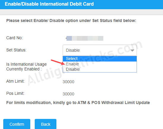 Activate International transactions for Canara Debit card