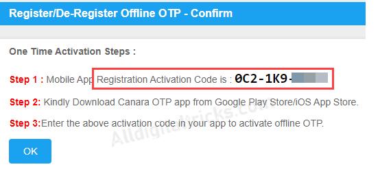 canara offline OTP
