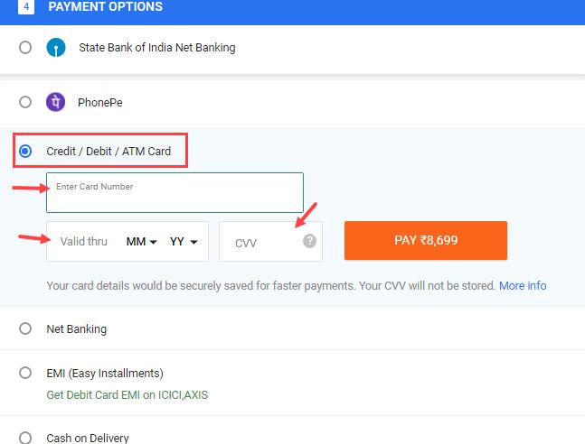Pay online SBI ATM Debit card