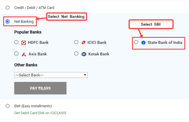 Pay online using SBI Net Banking