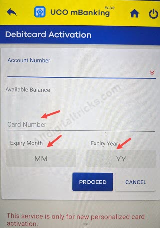 uco bank debit card activate online