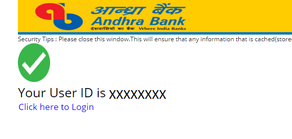 Andhra Bank Net Banking User ID