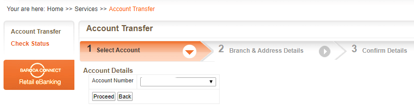 Bank of Baroda account transfer to another branch online