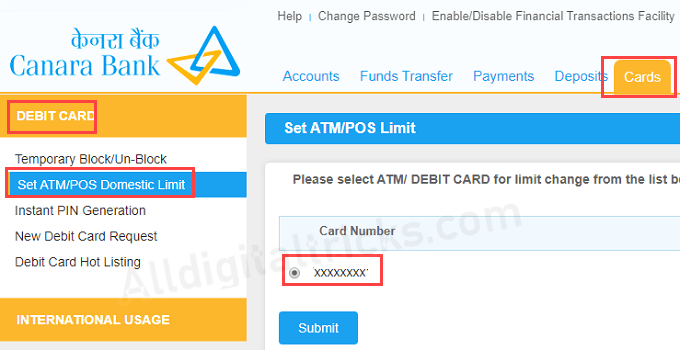canara bank visa debit card pos limit