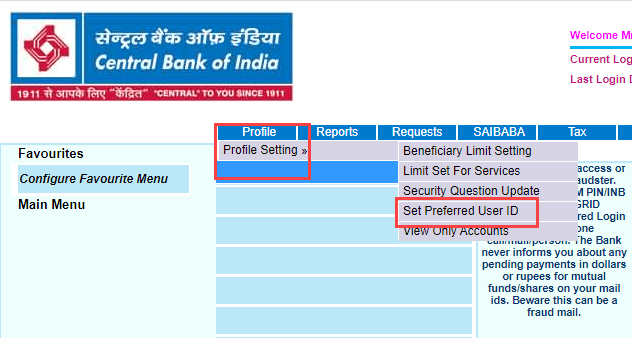central bank of india net banking set preferred user ID