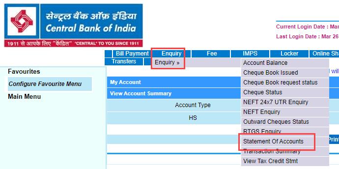 Download CBI Account Statement using Net Banking