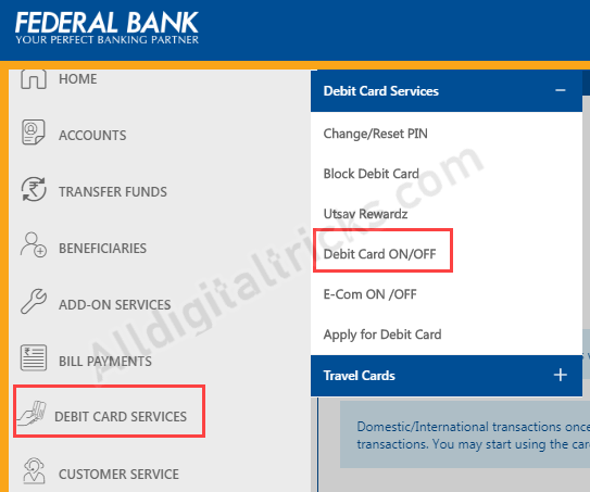 Activate International Transaction for Federal Bank Debit Card