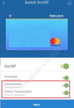 Activate International Transaction for Federal Bank Debit Card