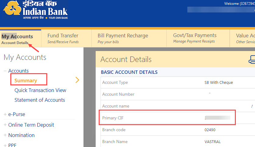 Indian bank CIF number