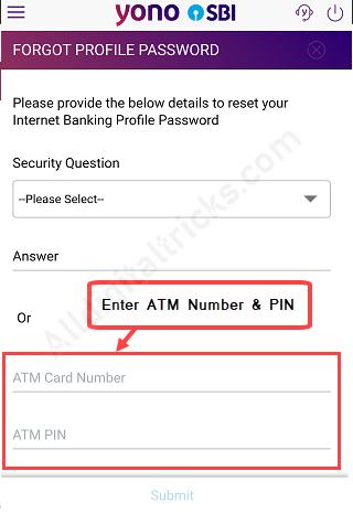 reset sbi profile password