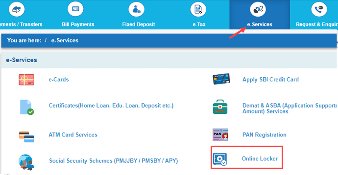 Search SBI Locker availability online