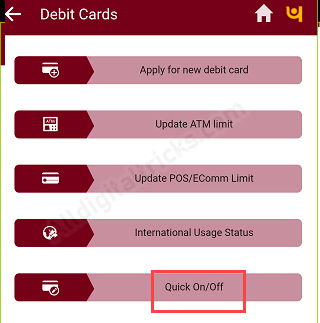 Switch ON OFF PNB ATM Debit card (Punjab National Bank)