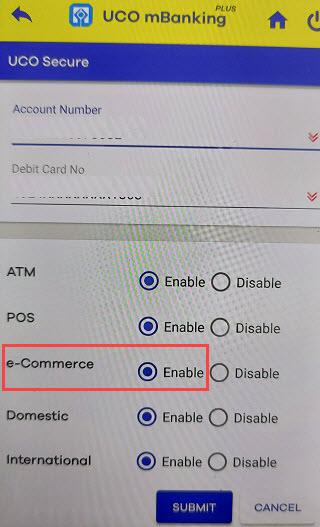 enable online transaction uco debit card