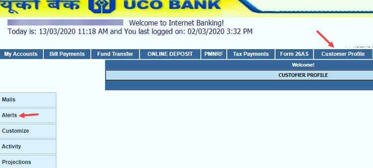 UCO Bank SMS alert