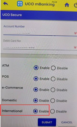 Activate International Transactions for UCO Debit card