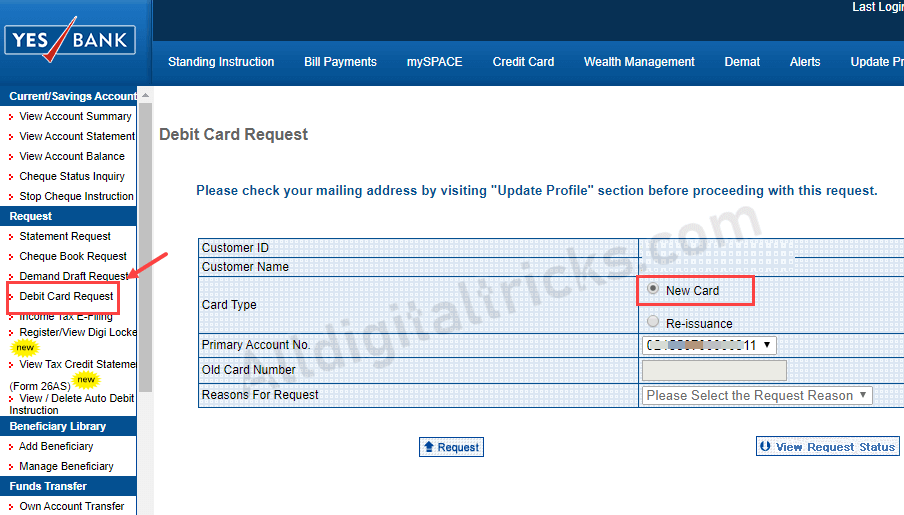 Apply New Yes Bank Debit Card Online