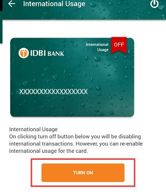 IDBI Debit card International usage