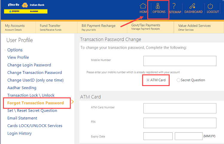 Indian Bank Transaction password reset