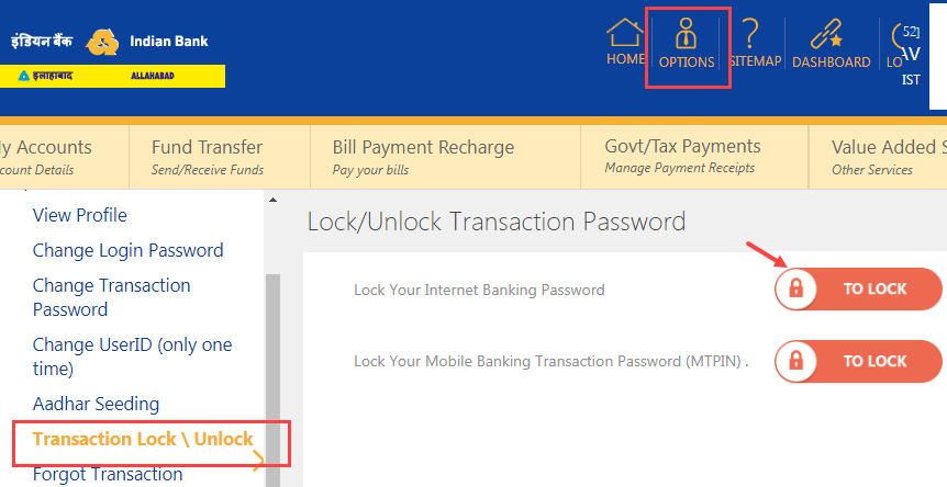 Indian Bank Transaction password unlock