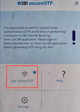 SBI Secure OTP get