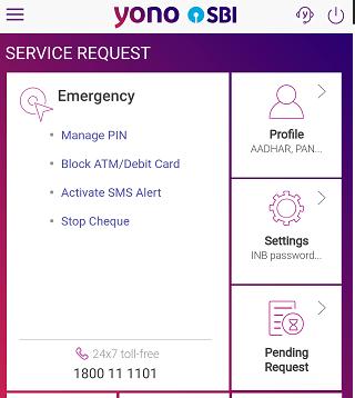 SBI YONO settings