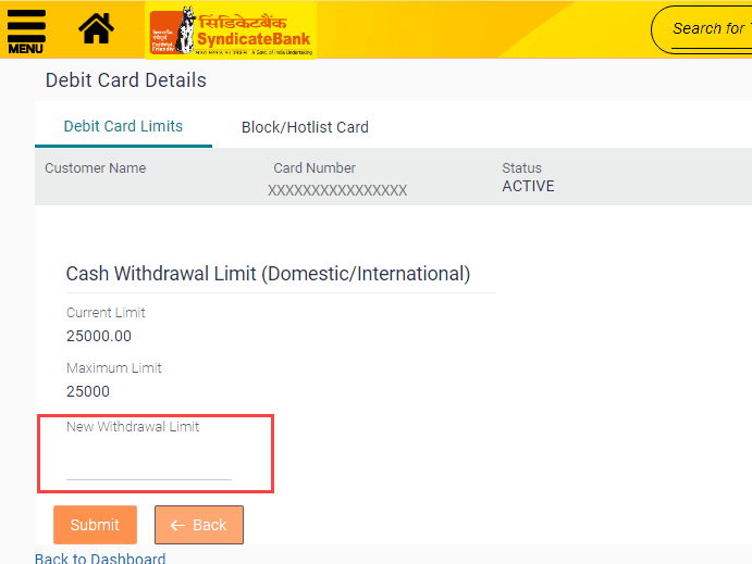Syndicate Bank ATM Withdrawal limit