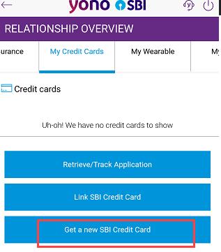 SBI credit card apply through YONO
