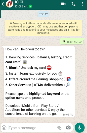 ICICI WhatsApp Banking