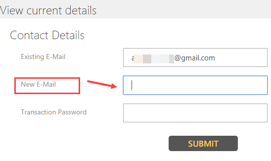 Indian Bank email ID update change register