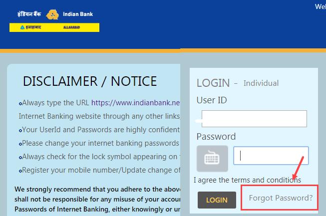 Indian Bank net banking login password reset