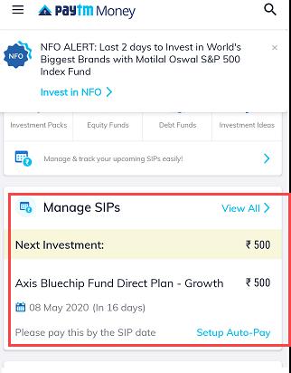 Paytm Money SIP manage