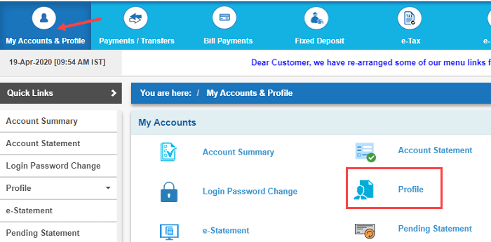 SBI net banking My Accounts & profile
