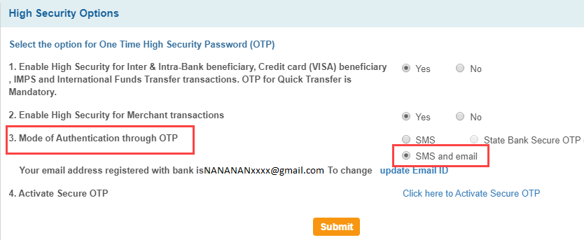 SBI OTP on email