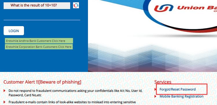 Reset Union Bank of India Net Banking Login Password