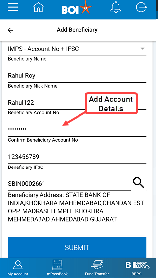 Bank of India Add Beneficiary (BOI)