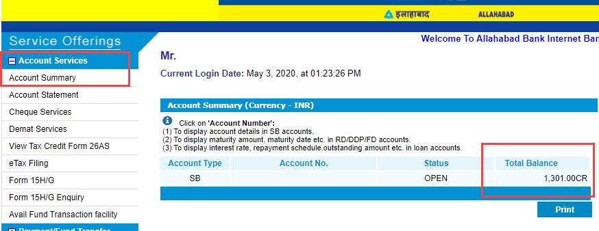 Check Allahabad Bank Account Balance
