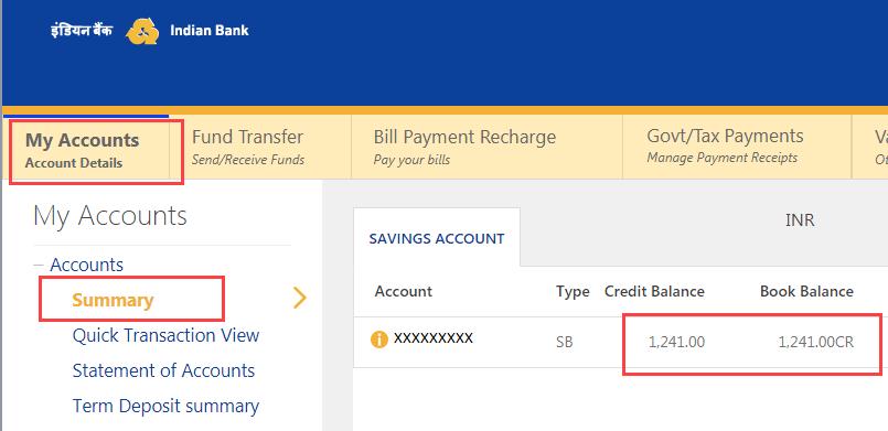 Check Indian Bank Account Balance
