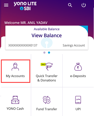 SBI Mobile banking my Accounts