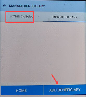 Canara Bank Add Beneficiary