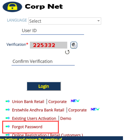 Reset Corporation Net Banking Signon & Transaction Password