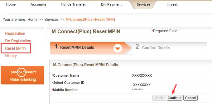 Reset Bank of Baroda Mobile Banking MPIN