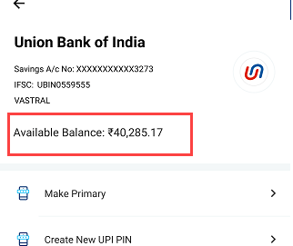 union bank of India check balance