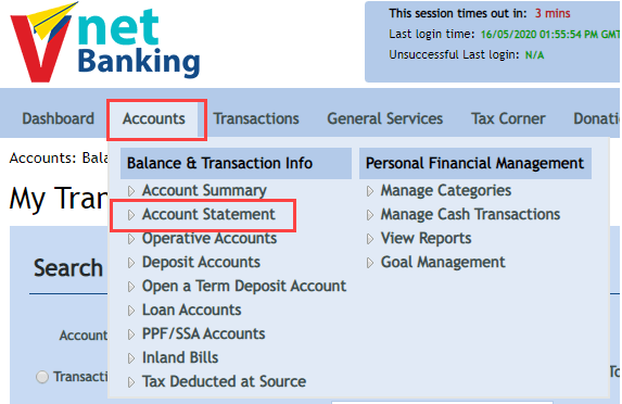 View/Download Vijaya Bank Statement Online