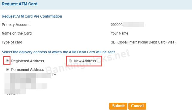 SBI apply International ATM Debit card