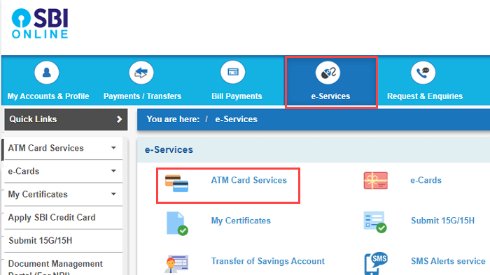 SBI net banking e-srrvices - ATM card services