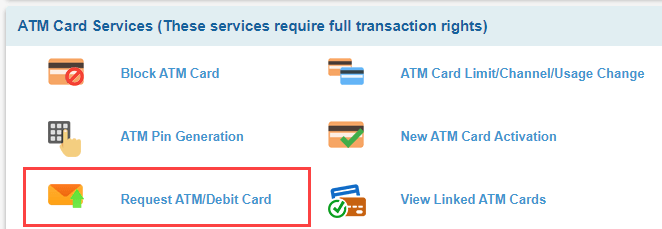SBI net banking e-srrvices - ATM card services - request ATM card