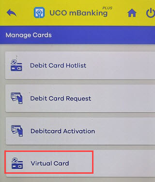 UCO Bank virtual ATM/Debiit card